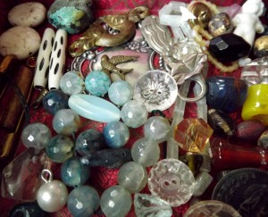 A strand of fire agates, vintage beads, buttons and more!