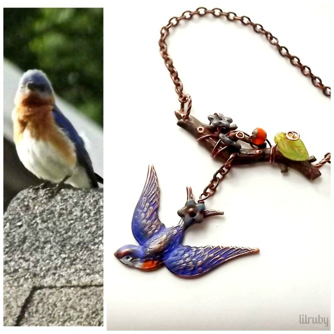 bluebird necklace Collage